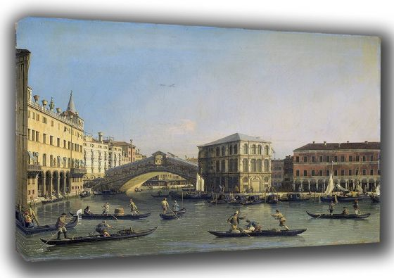 Canaletto: The Rialto Bridge, Venice, Italy. Fine Art Canvas. Sizes: A3/A2/A1 (003457)